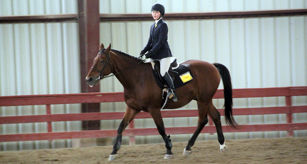 Photo of MHC sophomore Honami Tanaka during her blue ribbon ride at Preseason Tournament of Champions.