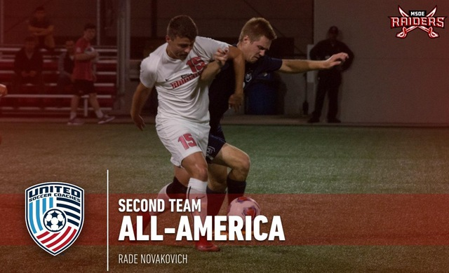 MSOE freshman Rade Novakovich has been named to the United Soccer Coaches NCAA Division III Men's Soccer All-America Second Team. (Graphic courtesy of MSOE Athletics Communications)