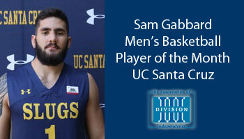 Gabbard receives Association of Division III Independents men's basketball Student-Athlete of the Month award