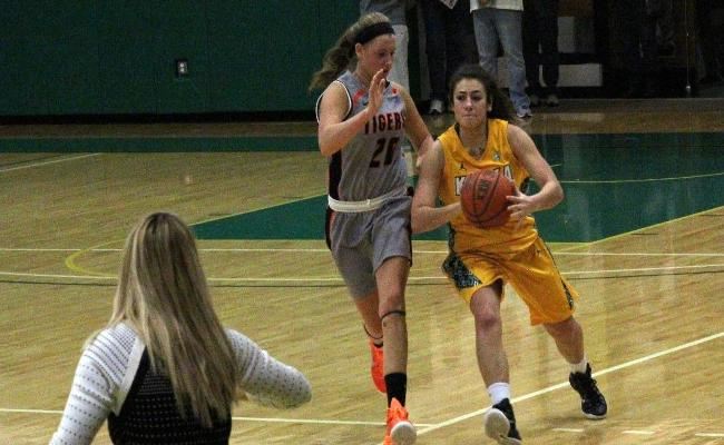 Senior Amanda Kubitz scored a career-high 20 points as women's basketball earned its fifth straight win, knocking off the College of St. Elizabeth 62-50 Saturday (photo courtesy of Ed Webber, Keuka College Sports Information department).
