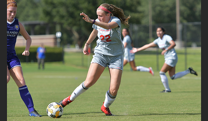 Laura Knott's hat trick led the Eagles to a 6-0 win over ASA College. (Photo by Tom Hagerty, Polk State.)