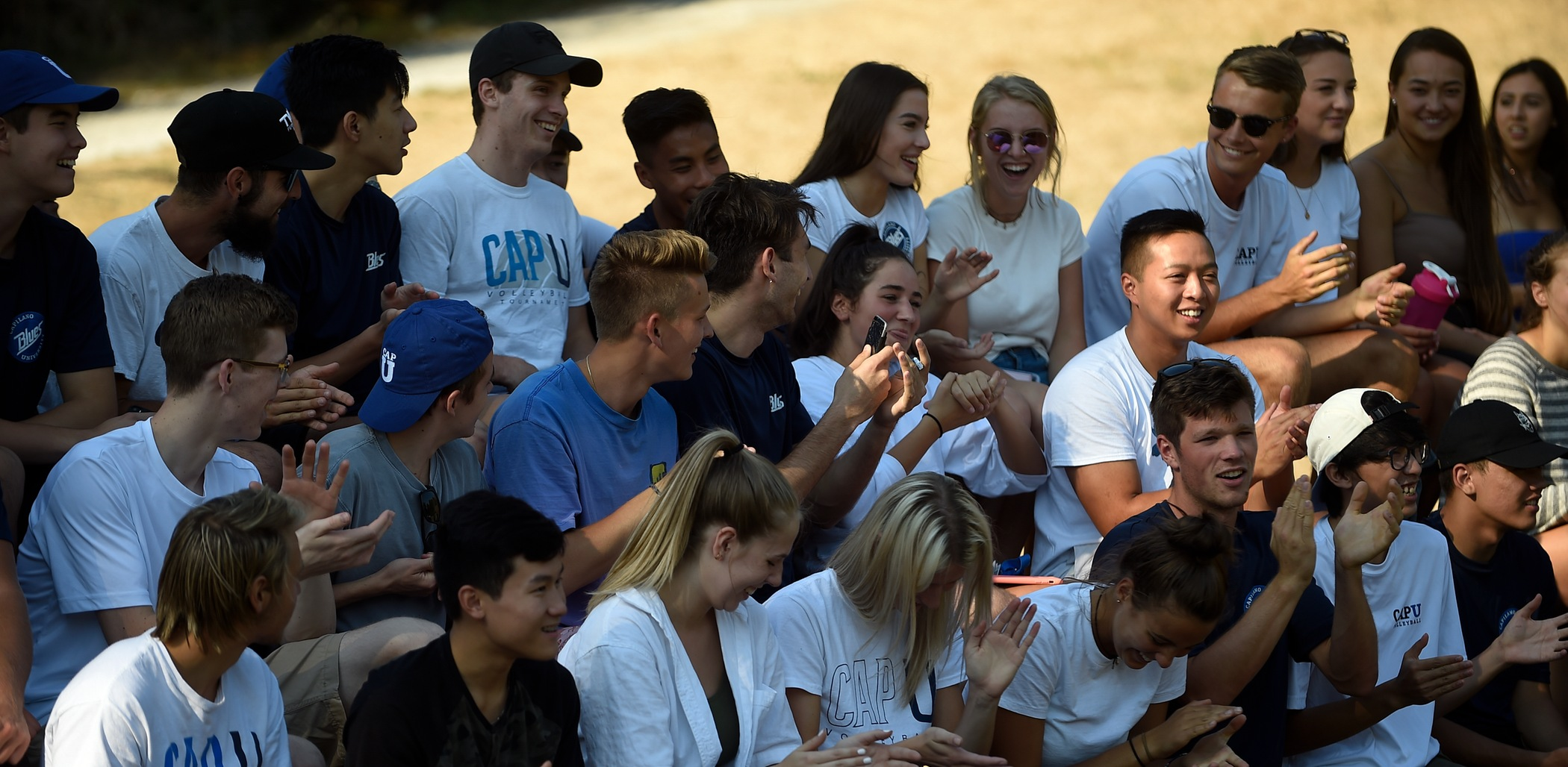 CapU students cheer on the Blues men's soccer game on Wednesday, September 5. Photo Tae Hoon Kim / Capilano University