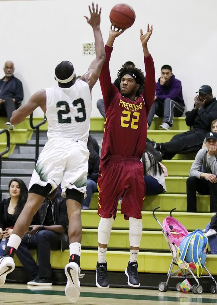Lancer Kyle Mitchell hits a jumper here in a loss at East Los Angeles College last Wednesday, photo by Richard Quinton.