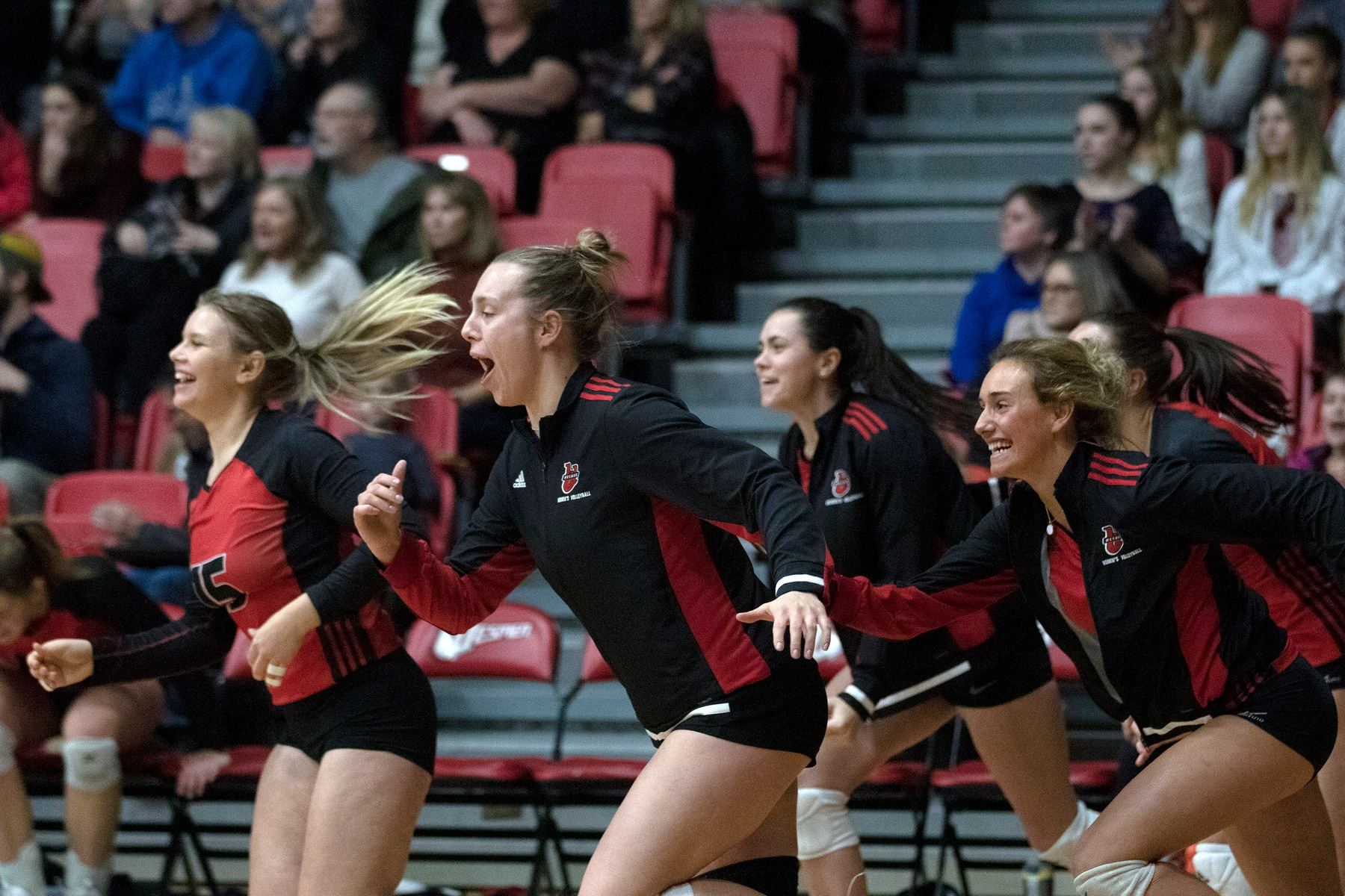 From left, Emily Yaeger, Jess Friesen, Mikaela Cameron and Felixe Sturk-Lussier storm the floor following the Wesmen women's volleyball team's win over the Mantioba Bisons, Nov. 22, 2019. (David Larkins/Wesmen Athletics)