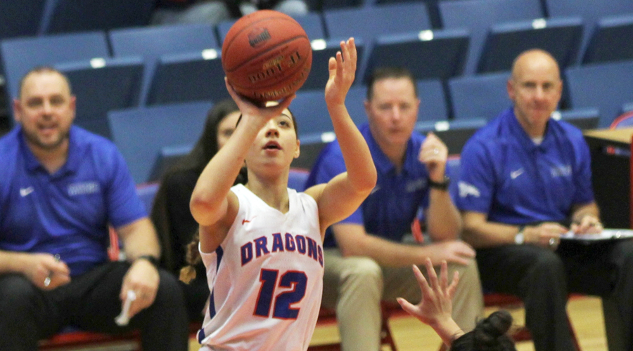 Tia Bradshaw was 1 of 3 Blue Dragons to score in double figures in Hutchinson's 82-57 win over NEO on Saturday in Great Bend.