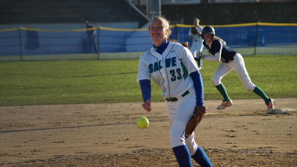 Kelsey Boarman threw her first career no-hitter while leading the Seahawks to a 9-1 victory over the Leopards in a CCC doubleheader sweep. (Photo by Khari Halliburton)