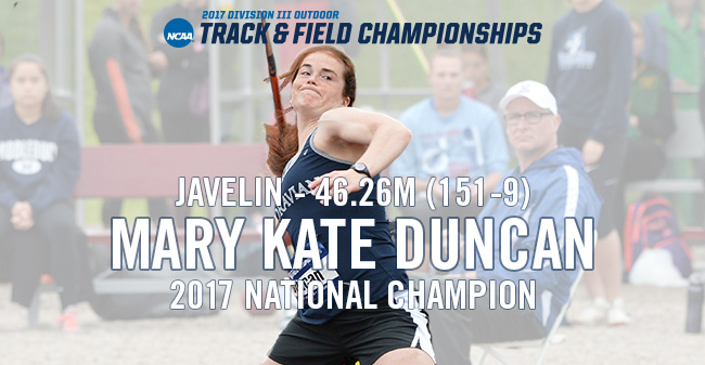 Duncan Wins 2017 NCAA DIII Women's Javelin National Championship