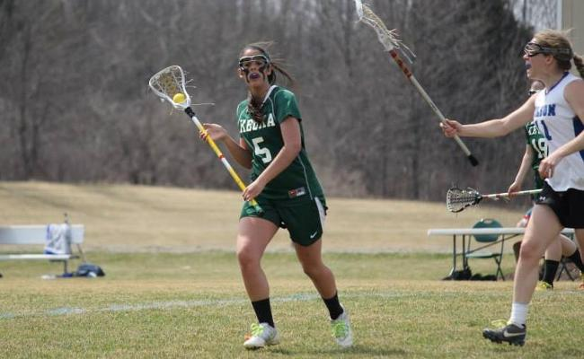 Sophomore Samantha Staino scored two goals and the Keuka College women's lacrosse team clinched the NEAC regular-season championship with Sunday's 20-3 win over SUNYIT (photo courtesy of Carly Volante, Keuka College Sports Information Department).