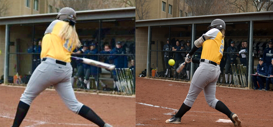 Mackenzie Milligan blasted two homeruns and Ashley Matousek hit her first collegiate homer.  (Photos courtesy of Jeff Boledovic)