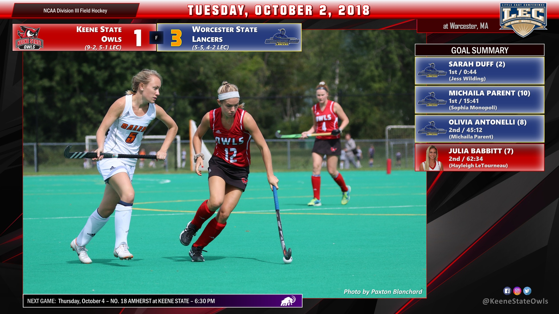 Field Hockey Falls at Worcester State, 3-1