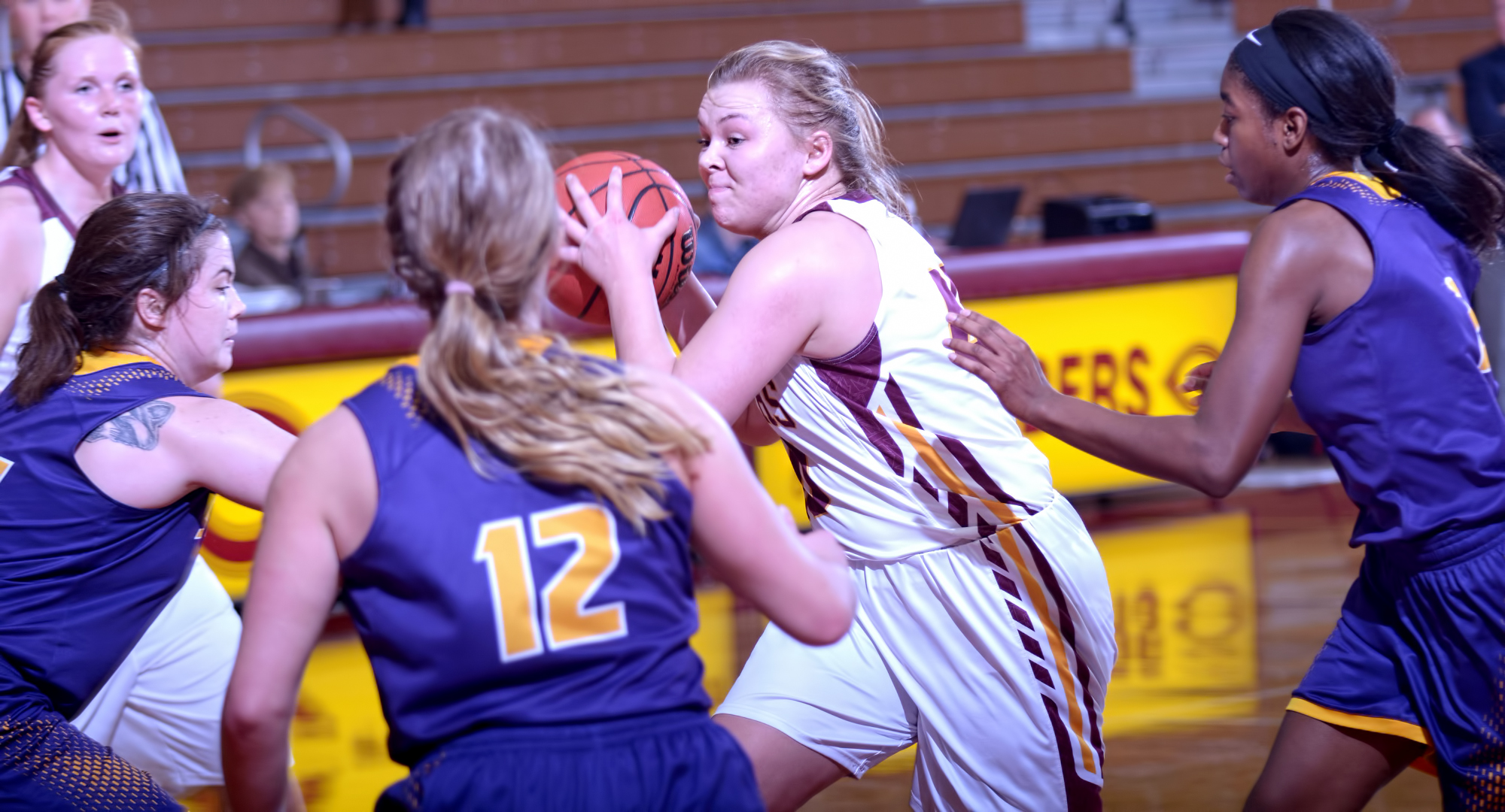 Sophomore Mira Ellefson drives to the basket for a clutch basket in the fourth quarter of the Cobbers' win over St. Catherine.