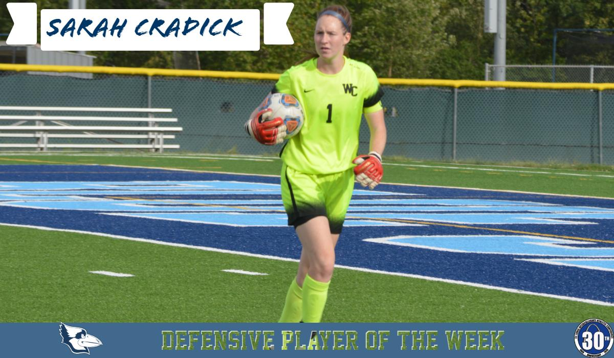 Cradick Named SLIAC Defensive Player of the Week For the Second Time This Season