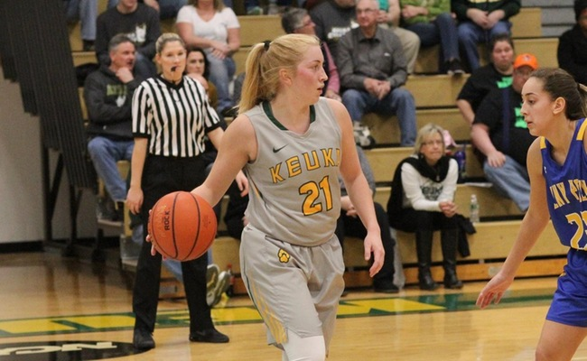 Sam Laranjo (21) scored a career-high 16 points on Saturday in Keuka College's loss to Bryn Athyn College -- Photo by Ed Webber