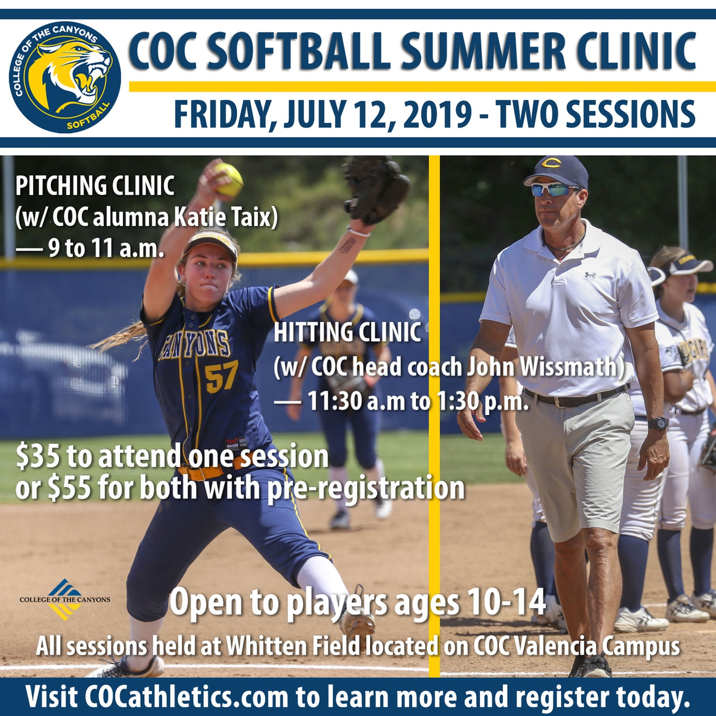 COC softball 2019 summer clinic infographic
