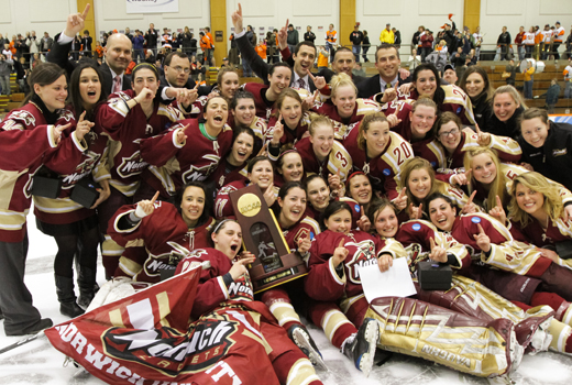 Women's Hockey: Rundlett, Leclerc Lead Cadets to 5-2 Win Over RIT In National Championship