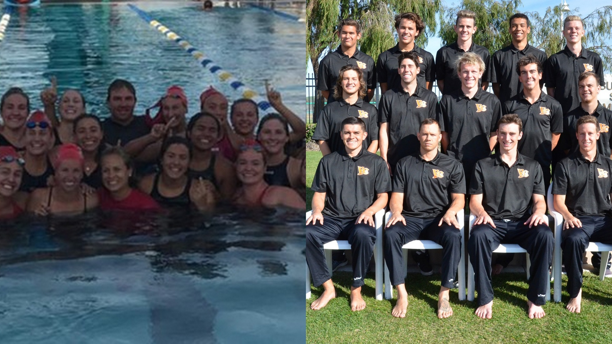The SBCC Women (left) and the Ventura Men (right) won another WSC Swim Title.