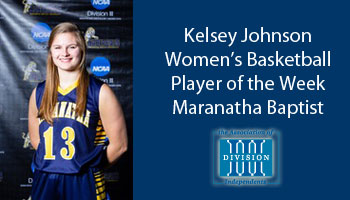 Johnson named Association of Division III Independents women's basketball Player of the Week