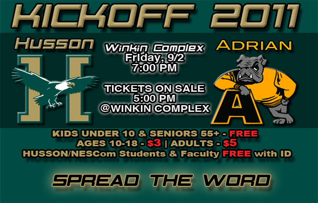 Husson Football vs. Adrian College, Tickets on Sale at 5:00 pm