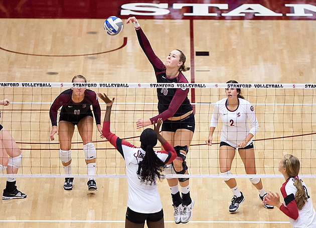 Volleyball Falls In Three at No. 8 Stanford