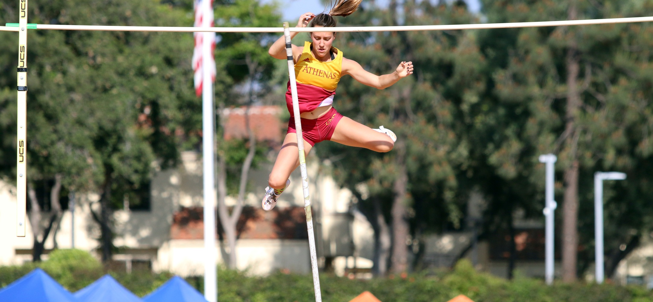 Jacque Desmond cleared 13 feet to set a new SCIAC record and win the league title on Saturday (photo by Kiubon Kokko)