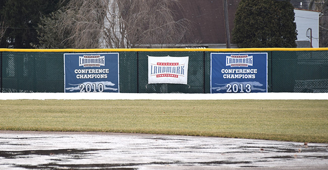 Gillespie Field outfield under snow in 2015