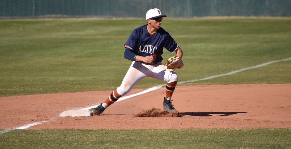Freshman Enrique Porchas went 3 for 9 with four RBIs but the Aztecs were swept on the road at No. 15 ranked Mesa Community College. The Aztecs dropped to 10-6 overall and 2-4 in ACCAC conference play. Photo by Ben Carbajal