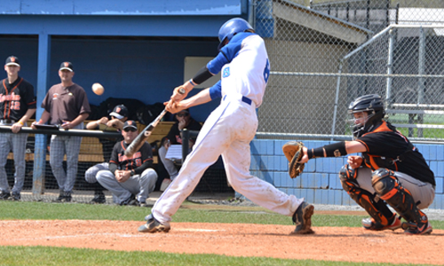 Christian Christopoulos drives a two-out, two-run double in the ninth inning comeback. Photo taken by Michael Sullivan.