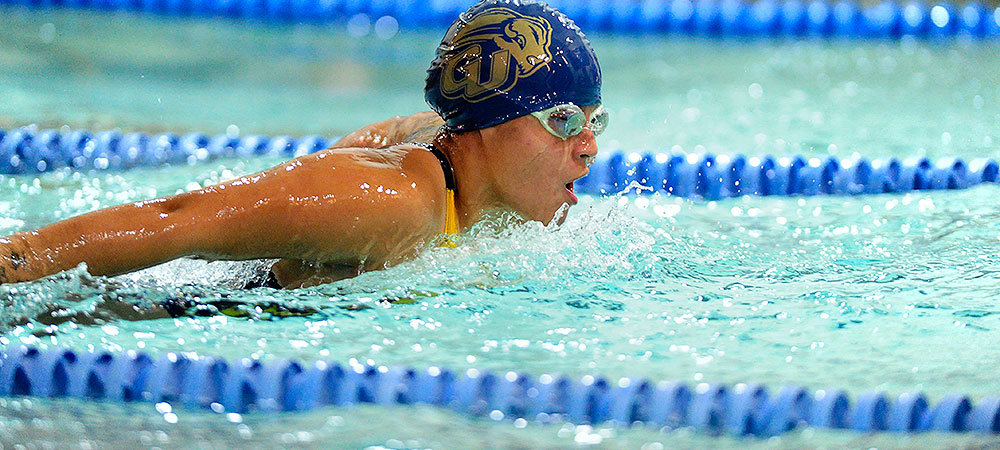 Bison women's team sits in fifth place after Day 1 of NEAC swimming and diving championships