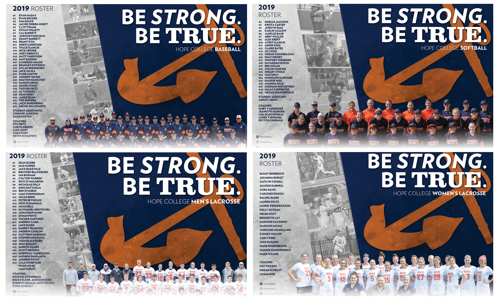 Spring team posters with orange anchors for baseball, men's lacrosse, women's lacrosse and softball