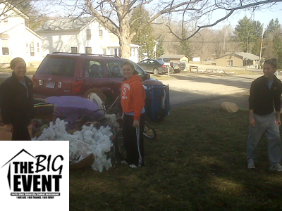 "Women's soccer student-athletes Cassie VanderSloot (left), Kelsey Aubil (center), and Kasey Ruimveld (right) assist with a Big Rapids resident's ""spring cleaning"" during last Saturday's (April 9) The Big Event."