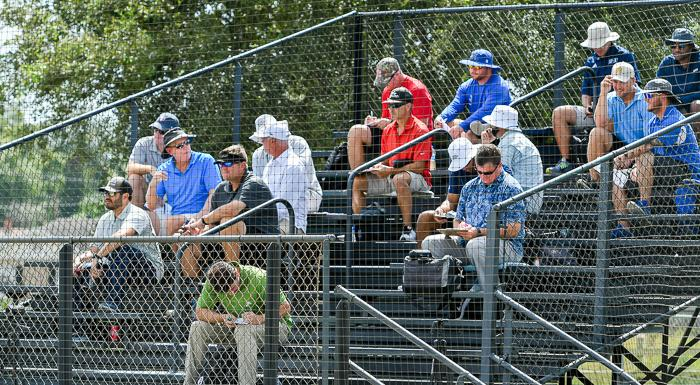 MLB scouts and college recruiters watch and take notes as the Eagles show their skills on the annual Scout Day. (Photo by Tom Hagerty, Polk State.)