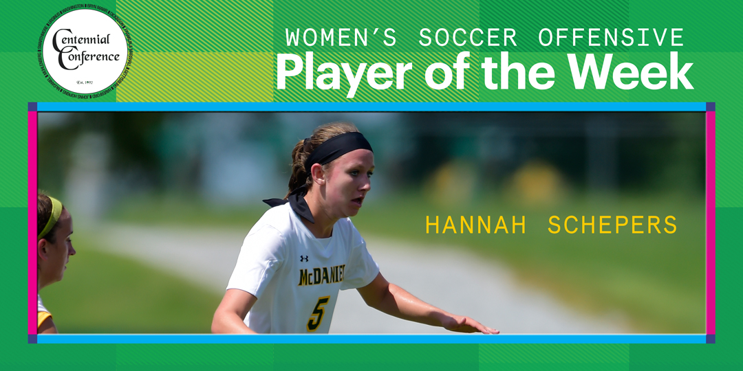 Hannah Schepers, the Centennial Conference Women's Soccer Offensive Player of the Week, waits for a ball in the midfield.
