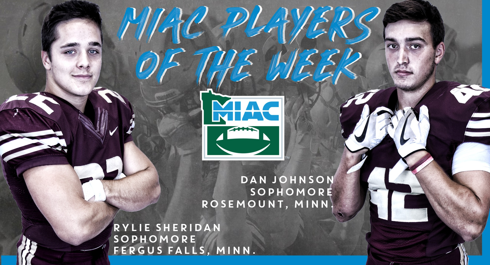Rylie Sheridan (L) and Dan Johnson were named MIAC Players of the Week.