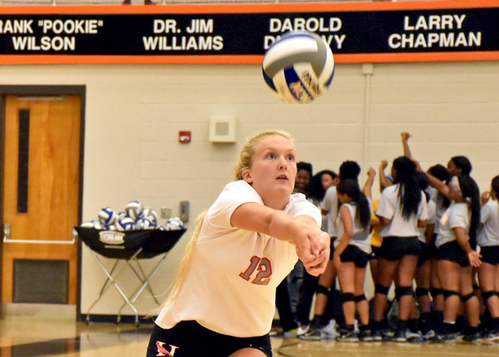 Shelby McAllister recorded 12 kills in Sunday's win over Emory & Henry. (Photo by Wesley Lyle)