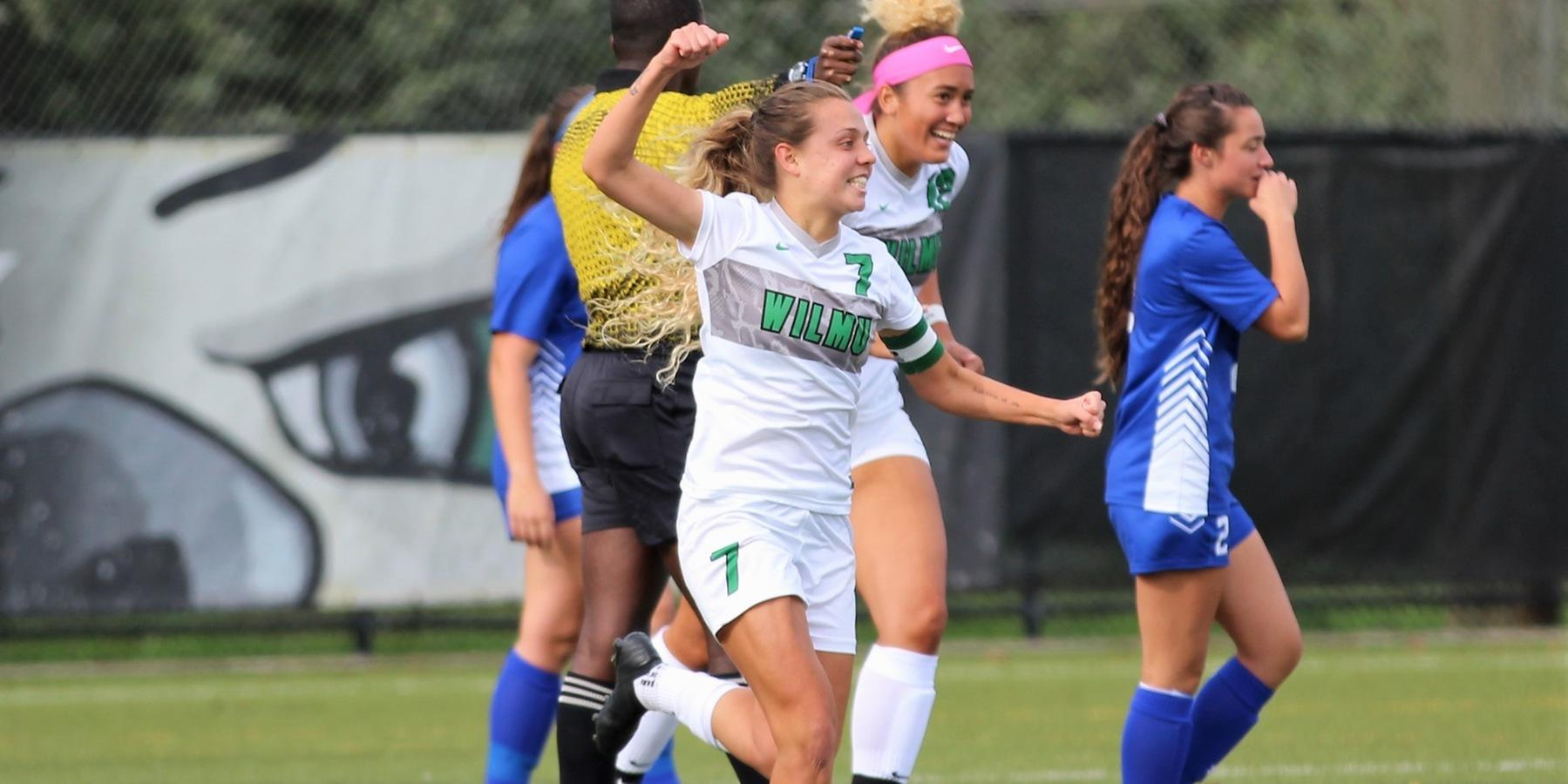 Copyright 2018; Wilmington University. All rights reserved. Photo of Rebecca Dolhansky following her goal in the fifth minute against Georgian Court. Photo by Keara McCarthy. October 16, 2018 vs. Georgian Court.