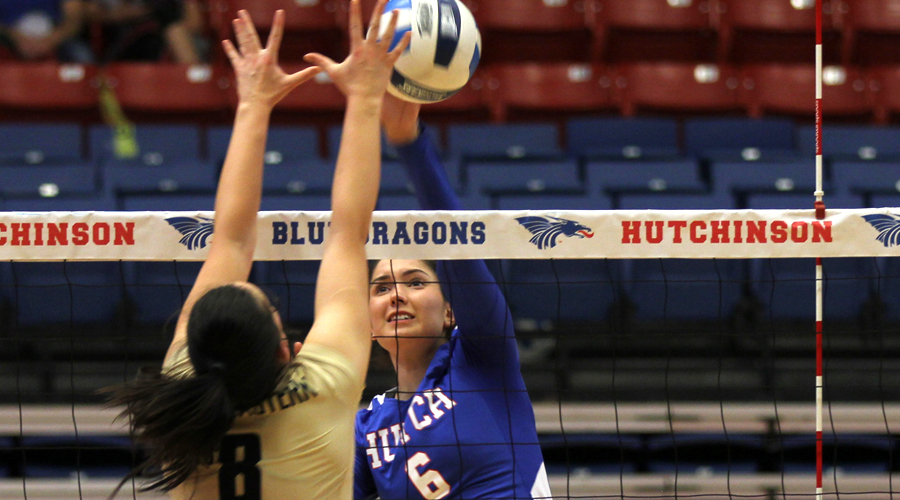 Elena Takova had a combined 27 kills in two matches on Saturday, but the Blue Dragons drop a pair of matches at the Allen Samuels/Blue Dragon Volleyball Classic at the Sports Arena. (Bre Rogers/Blue Dragon Sports Information)