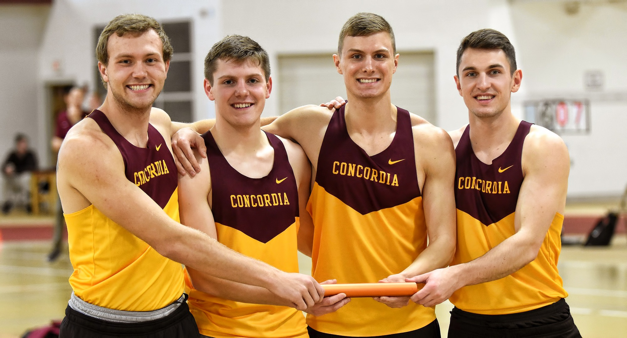 The 4x200-meter relay team of Colin Schuller, Hayden Gagnon, Cal Wright and Tom Whiting broke the school record by running a 1:31.18 at the Cobber Open.