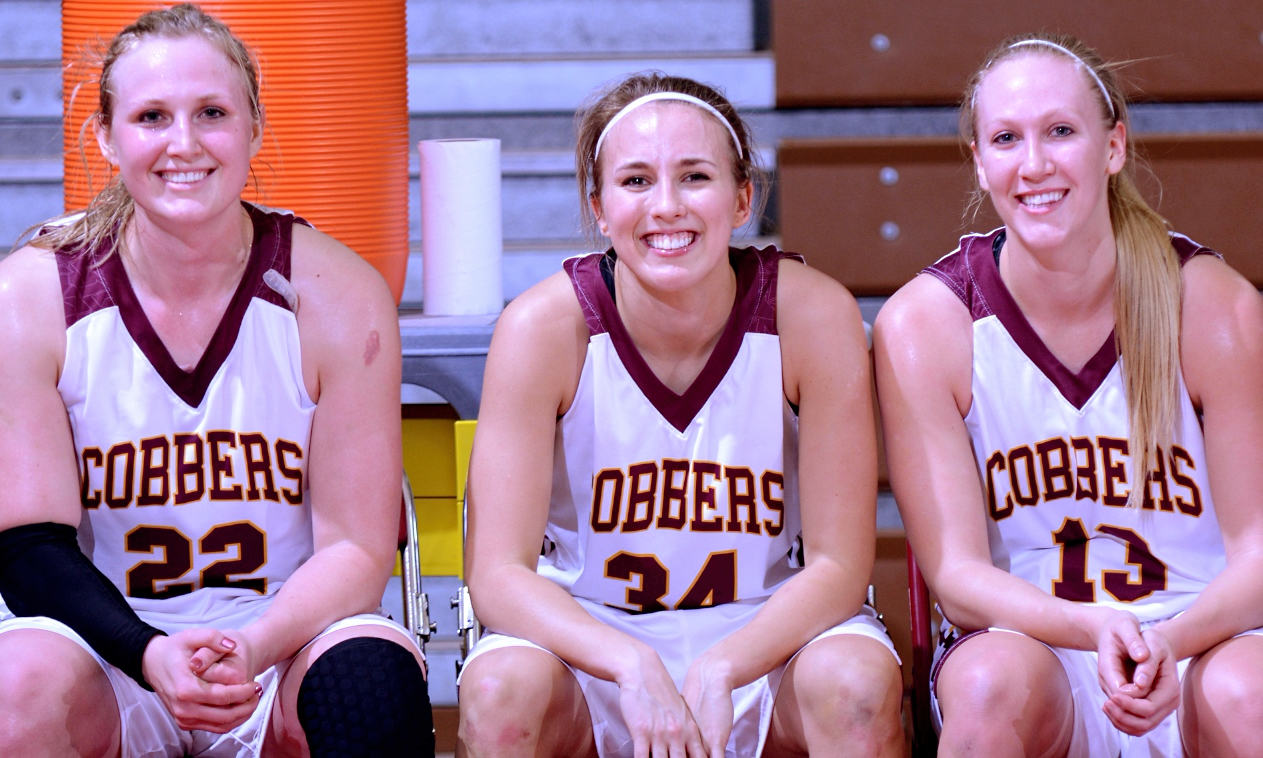 The three Cobber seniors - Olivia Johnson, Katie Rosenfeldt and Hannah Jeske helped Concordia beat Macalester in the regular-season finale.