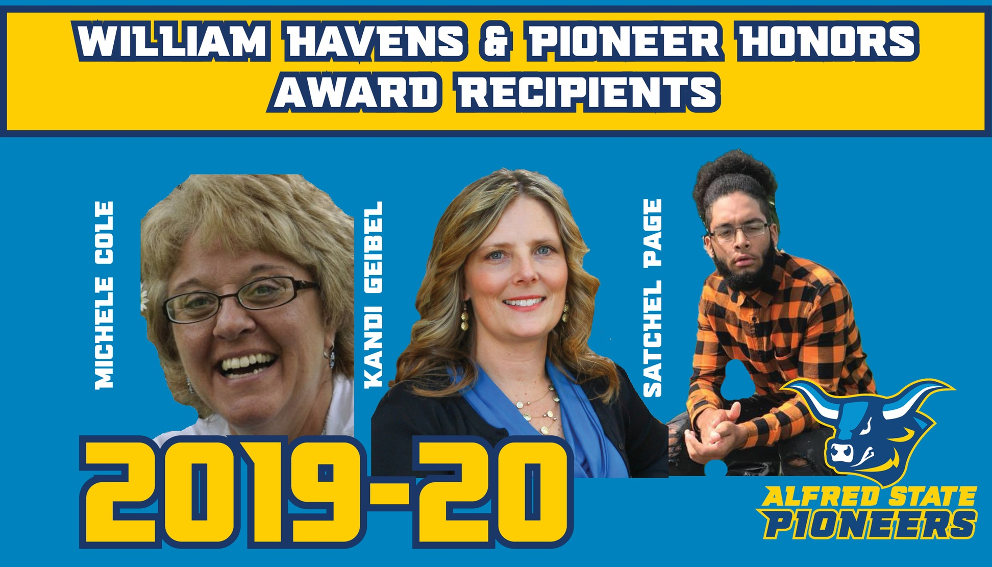 Michele Cole, Kandi Geibel, and Satchel Page honored with Alfred State Athletic Awards