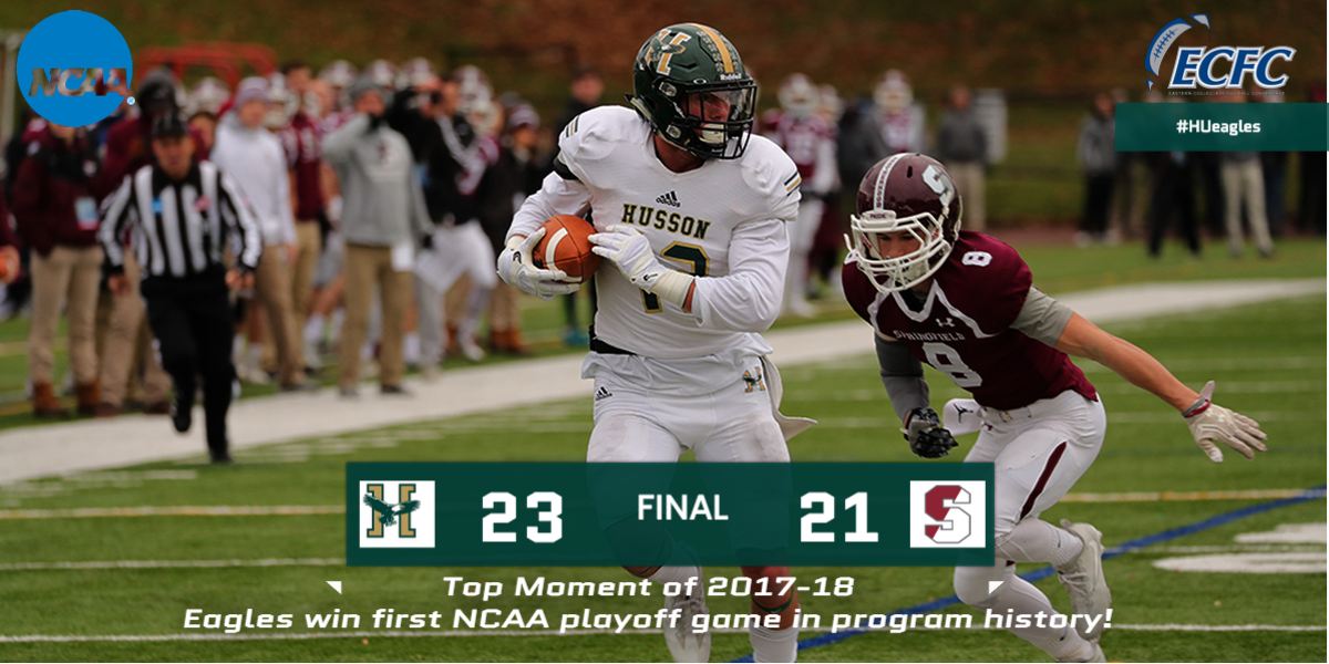 Last Top Moment of 2017-18: Football Upsets #19/#20 Springfield, 23-21, for First-Ever NCAA Tourney Win