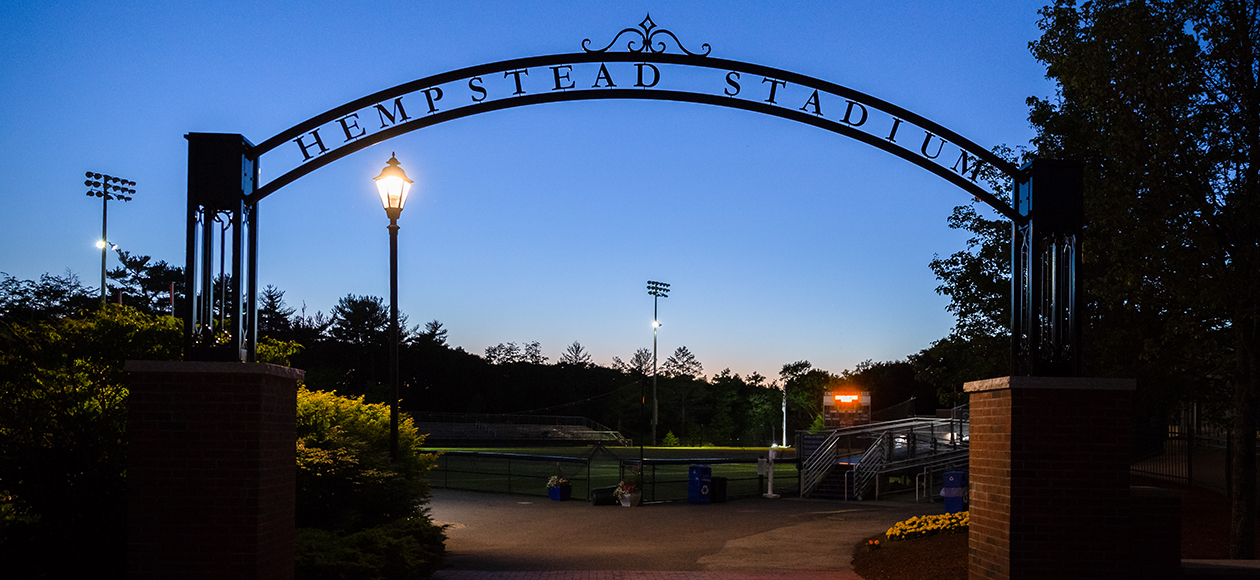 Hempstead Stadium at night.