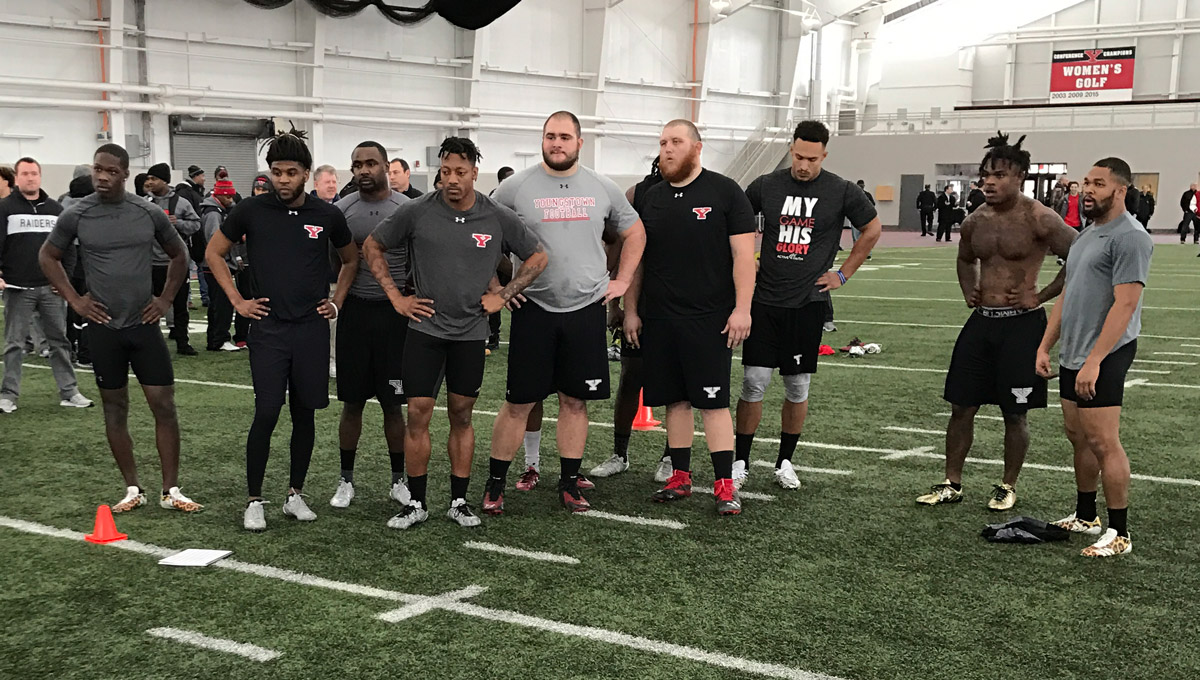Eleven former YSU Football players worked out for NFL and CFL scouts on Tuesday.
