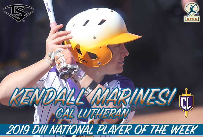 Marinesi Named Louisville Slugger/NFCA Division III Player of the Week