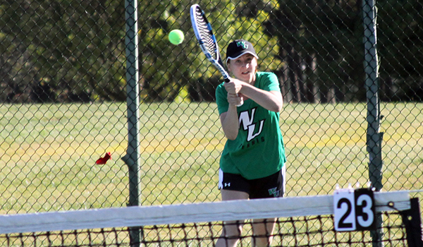 Copyright 2017; Wilmington University. All rights reserved. File photo of Jane Malygina who improved to 3-0 in singles with a win on Thursday. Photo by Dan Lauletta.
