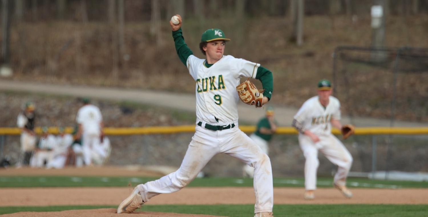 Joe DiBenedetto (9) earned the win for Keuka College in game two