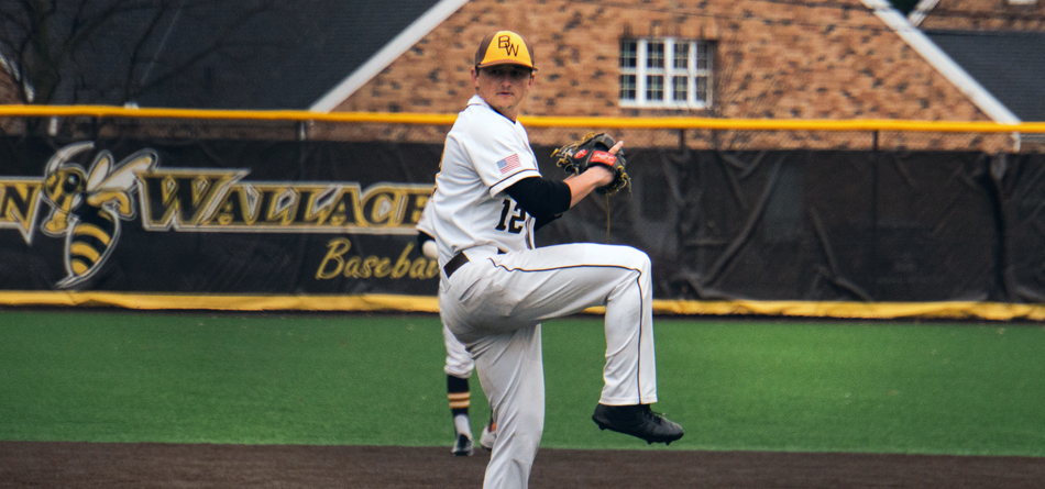 Senior left handed pitcher Jack Raines threw 2.2 innings of scoreless and hitless relief with five strikeouts in BW's opening tournament game (Photo courtesy of Alec Palmer)