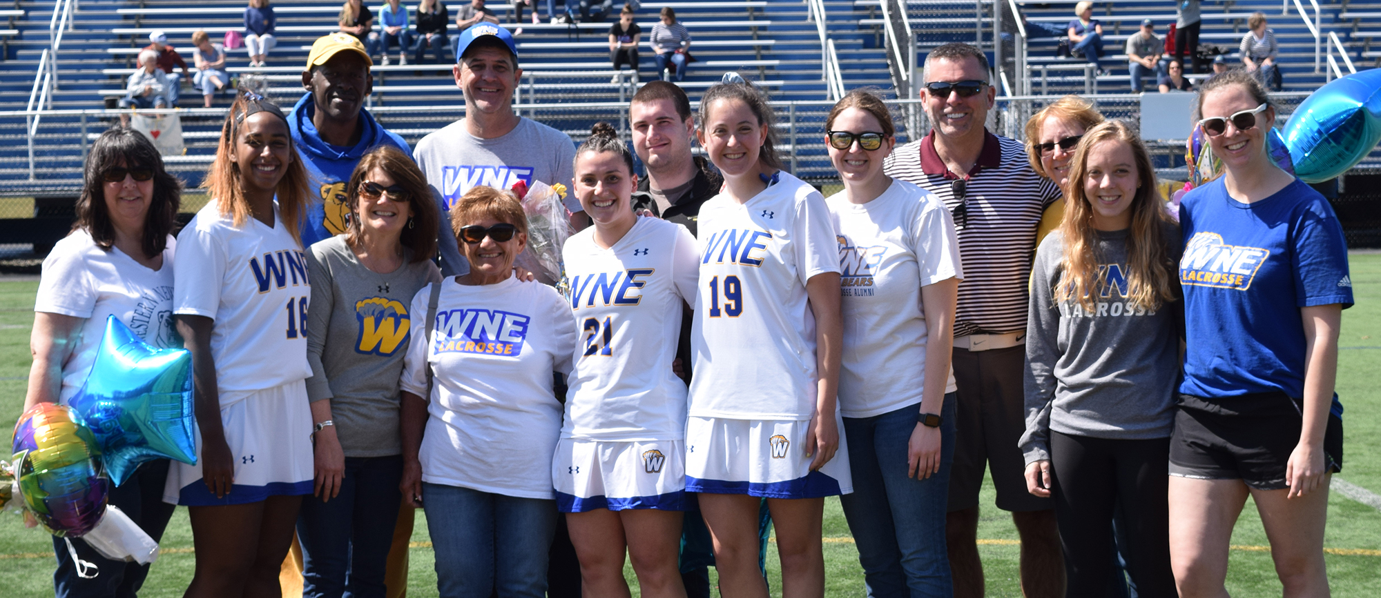 Seniors Janell Lewis, Audrey Zaborowski & Kristen Breen were honored before the start of Saturday's game. (Photo by Rachael Margossian)