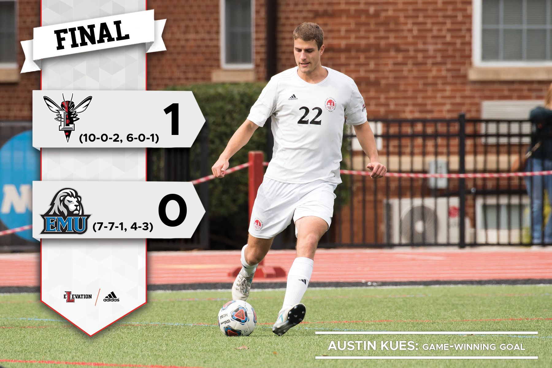 Austin Kues kicks a soccer ball. Graphic showing 1-0 final score and team logos.