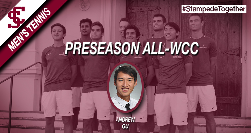 Men's Tennis Picked to Finish Second in WCC; Gu Named Preseason All-WCC