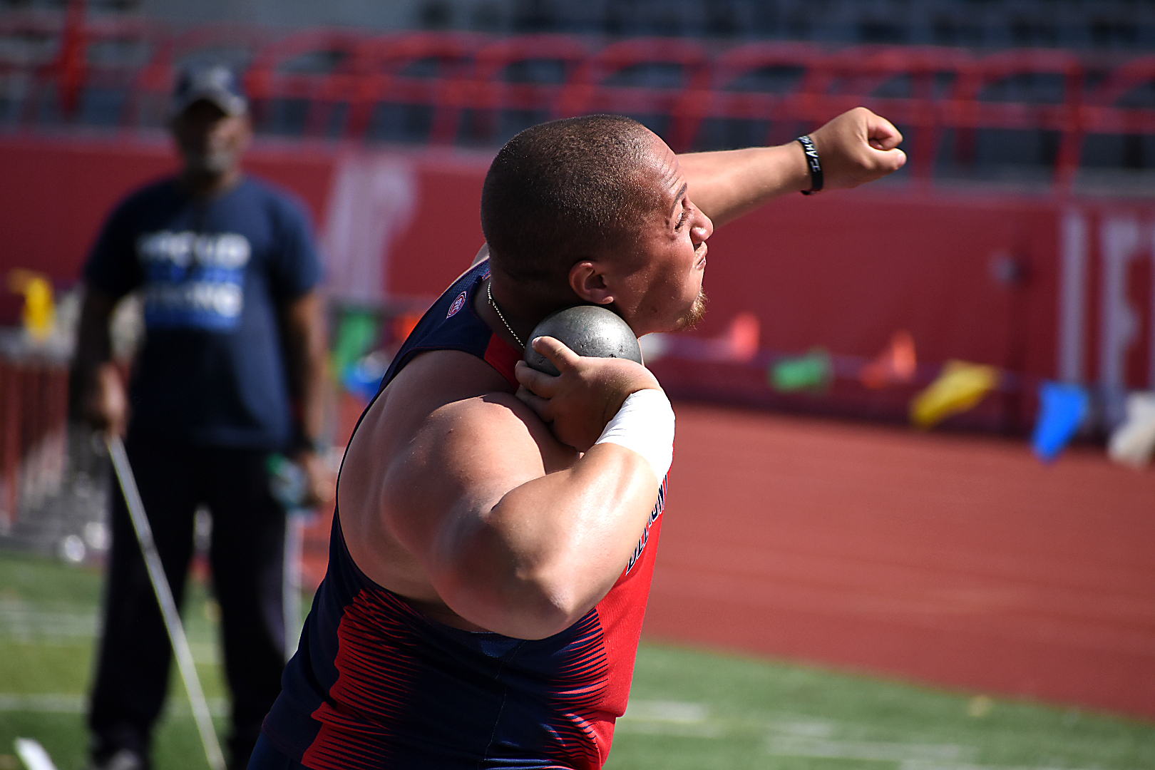 Corey Claiborne throws the shot put at the Governors Invitational in Clarksville, Tenn. on Friday, April 13, 2018.